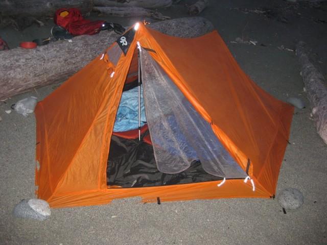 NightHaven with trekking poles